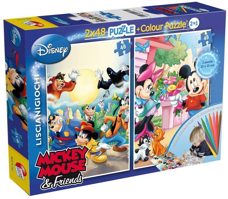 Puzzle Lisciani 2x48 dílků - oboustranné - Mickey - 40711b Lisciangiochi