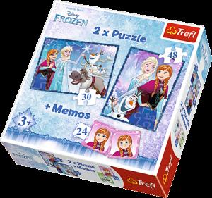 Puzzle Trefl  30 + 48 dílků + hra Memos ( pexeso ) Frozen   90617