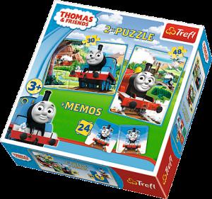 Puzzle Trefl  30 + 48 dílků + hra Memos ( pexeso ) Mašinka Tomáš 90602