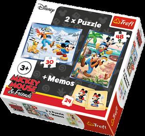 Puzzle Trefl  30 + 48 dílků + hra Memos ( pexeso ) Mickey  90604