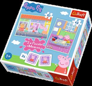 Puzzle Trefl  30 + 48 dílků + hra Memos ( pexeso ) Prasátko Peppa  90600