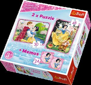 Puzzle Trefl  30 + 48 dílků + hra Memos ( pexeso ) Sněhurka  90603