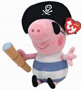 TY Beanie Babies - Peppa Pig - prasátko Pepina  Pirát  -  15 cm plyšák - plyšová hračka