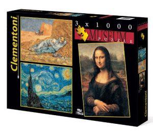 Puzzle Clementoni 1000 dílků -  3 x  1000 dílků Muzeum, Clementoni 08006