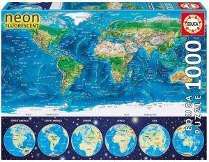 EDUCA Puzzle 1000 dílků  svítící - Mapa světa  16760