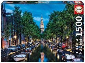EDUCA Puzzle 1500 dílků   Amsterdamský kanál za soumraku  16767