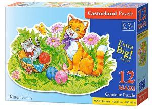 Puzzle Castorland 12 dílků MAXI - Kočičí rodina 120123
