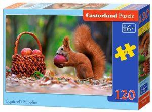 Puzzle Castorland 120 dílků - Veverka s košíkem jablek  13302