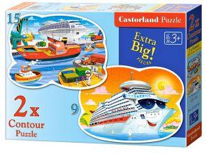 Puzzle Castorland 2v1 = 9-15 dílků Dobrodružství na moři 020102