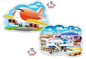 Puzzle Castorland 2v1 = 9-15 dílků  Letecké dobrodružství  020072