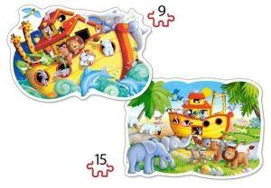 Puzzle Castorland 2v1 = 9-15 dílků Noemova archa 020089