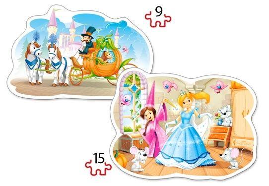 Puzzle Castorland 2v1 = 9-15 dílků Popelka 020027