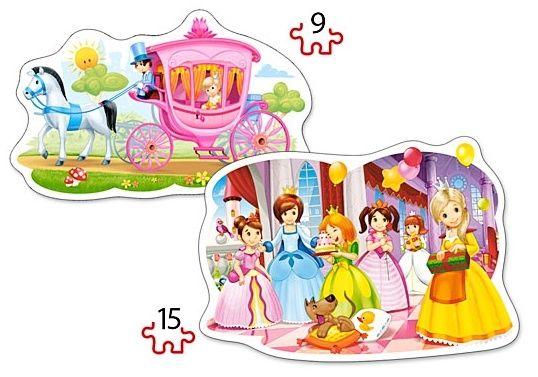 Puzzle Castorland 2v1 = 9-15 dílků Princezny na bále 020034