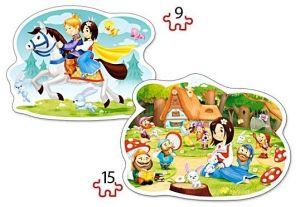 Puzzle Castorland 2v1 = 9-15 dílků  Sněhurka a sedm trpaslíků   020041