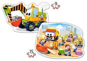 Puzzle Castorland 2v1 = 9-15 dílků   Stavební práce  020065