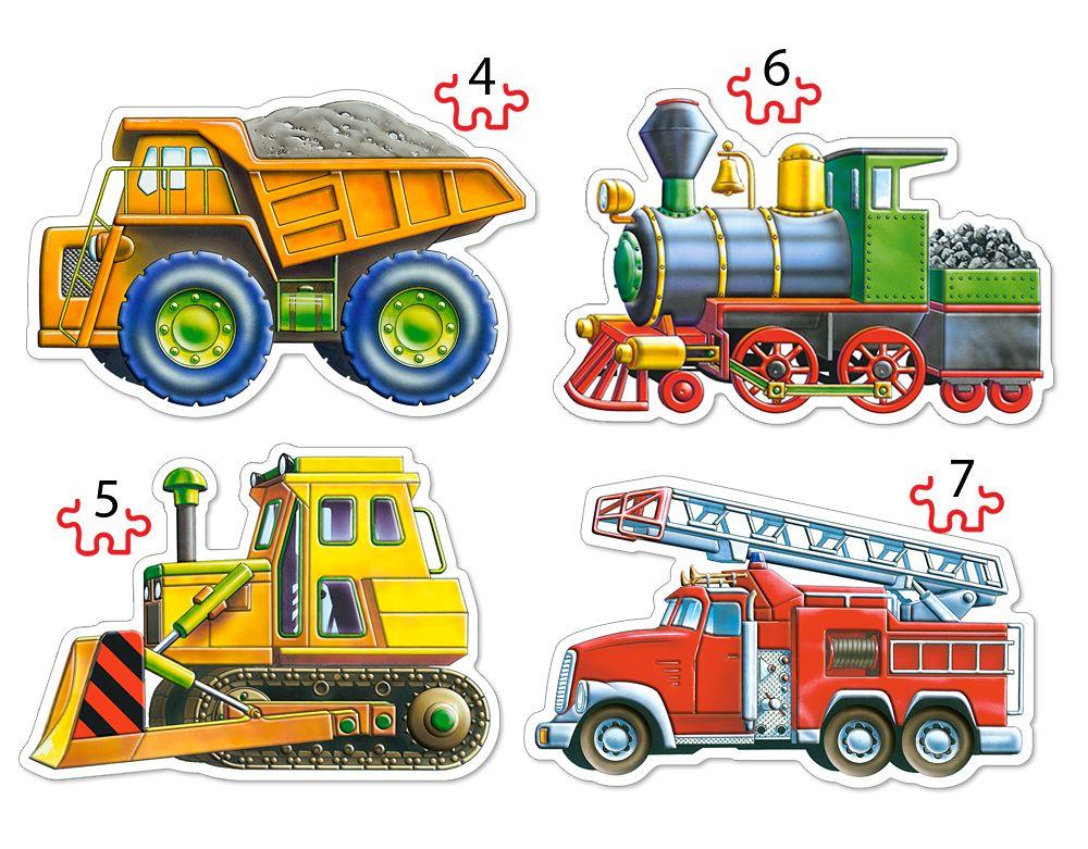 Puzzle Castorland 4v1 = 4-7 dílků Dopravní prostředky 04256