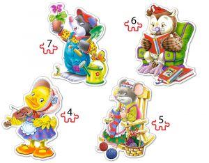 Puzzle Castorland 4v1 = 4-7 dílků  Zvířátka a volný čas 04225