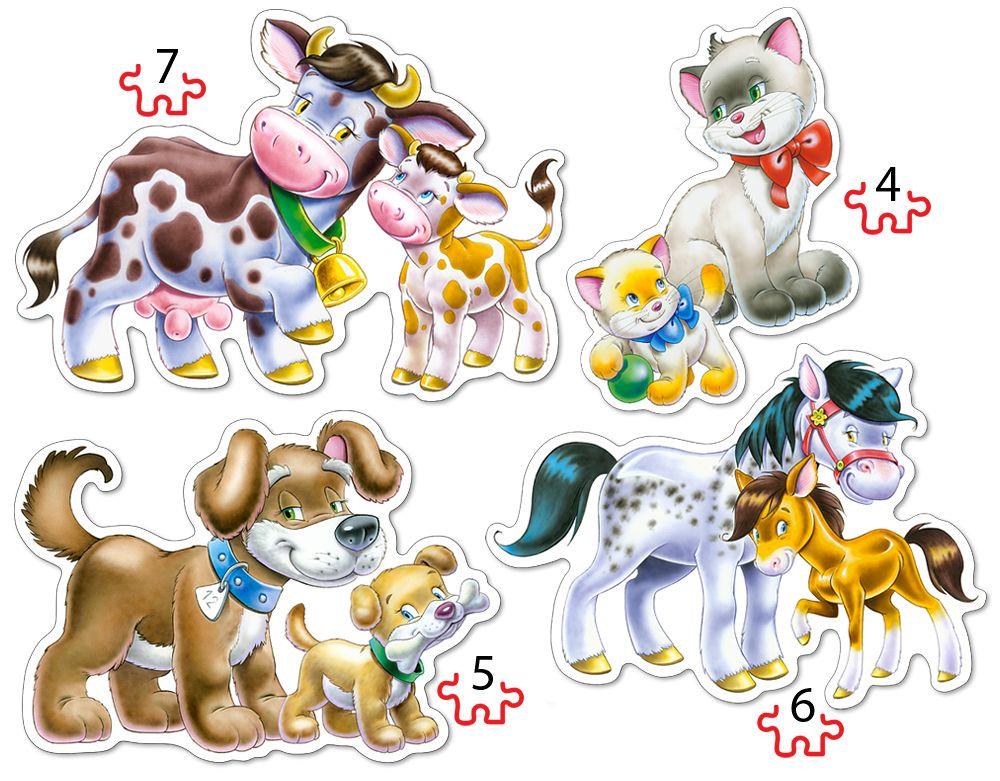 Puzzle Castorland 4v1 = 4-7 dílků Zvířátka s mláďaty 04218