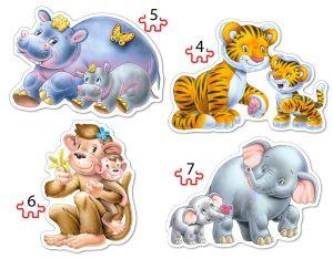Puzzle Castorland 4v1 = 4-7 dílků  Zvířátka z džungle  04249
