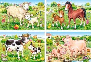 Puzzle Castorland 4v1 = 8-20 dílků  Zvířecí maminky s mláďaty  04416