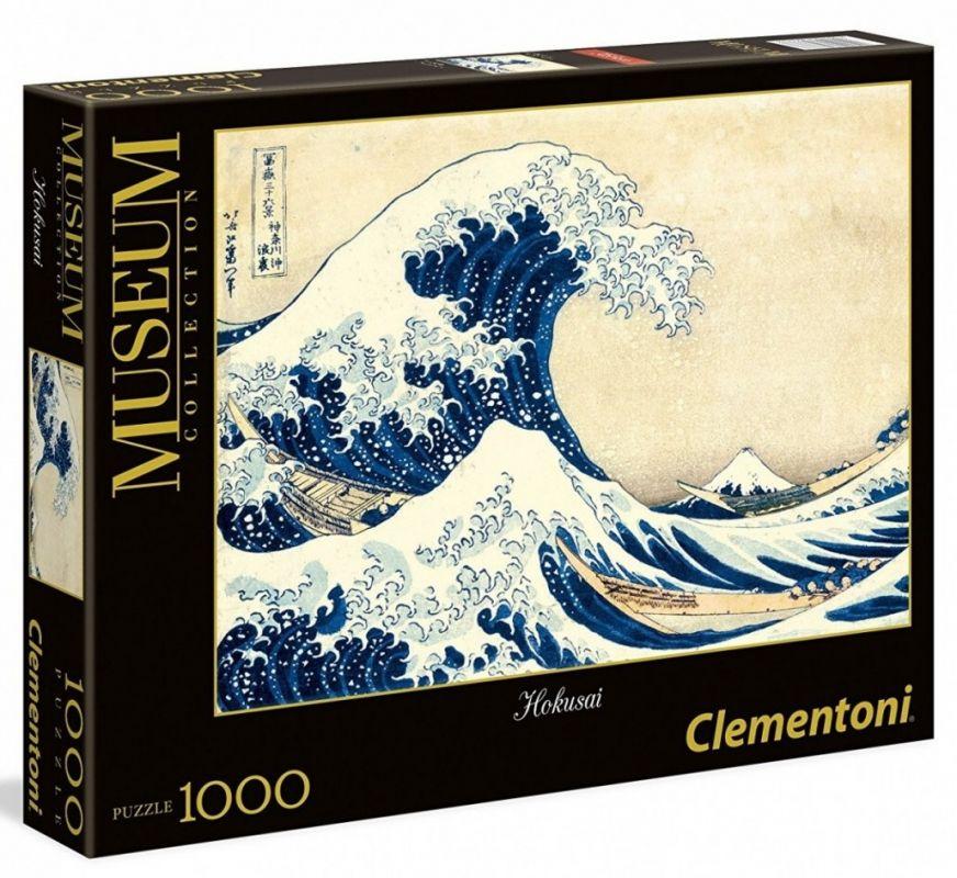 Puzzle Clementoni 1000 dílků - Hokusai - Velká vlna u Kanagawy 39378