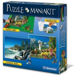 Puzzle Clementoni 2 x 1000 dílků + rolovací podložka + lepidlo -  MANIAKIT b