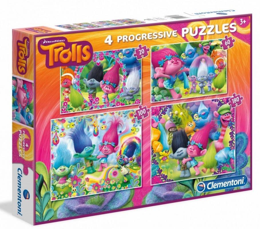 Puzzle Clementoni - 20, 60, 100 a 180 dílků - Trollové 07716
