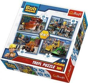 35, 48, 54 a 70  dílků -  4v1  Bořek Stavitel -  puzzle   Trefl 34270