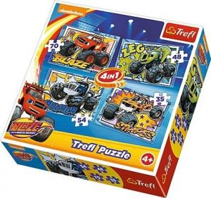 35, 48, 54 a 70  dílků -  4v1  Monster machines - Blaze  -  puzzle   Trefl 34267