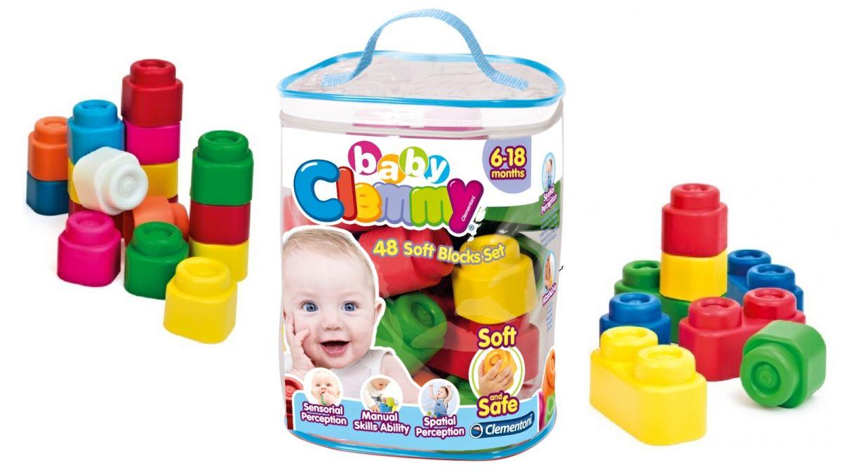 Clemmy Baby 48 barevných kostek v plastovém pytli Clementoni