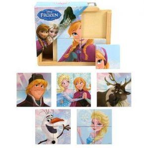 Dřevěná skládačka  ze 4 ks ( 6 obrázků )  v dřevěné krabičce  Frozen