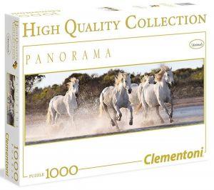 Puzzle Clementoni 1000 dílků panorama - Běžící koně  39371