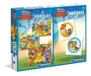 Puzzle Clementoni 2x20  + 100  dílků + Memos ( pexeso ) - Lví hlídka  07810