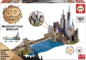 Puzzle Educa 3D dřevěné - Manhattan    17000  160 dílků