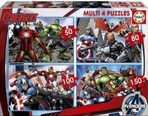 Puzzle Educa 4v1   50 - 80 - 100 - 150 dílků  Avengers  16331