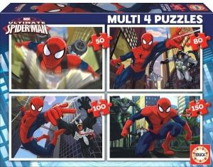 Puzzle Educa 4v1   50 - 80 - 100 - 150 dílků  Spiderman  15642