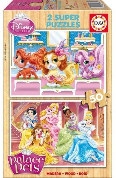 Puzzle Educa dřevěné 2 x 50 dílků - Palace Pets - Princezny 16371