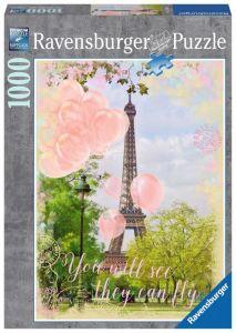 Puzzle Ravensburger 1000 dílků -  Balónky pod Eiffelovkou 197088