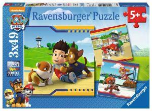 Puzzle Ravensburger  3 x 49 dílků  - Psí tlapková patrola   093694