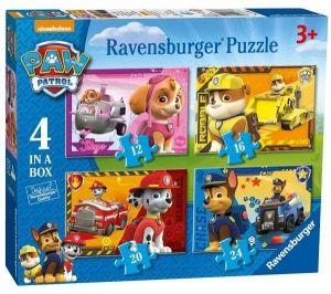 Puzzle Ravensburger  4v1 12, 16, 20 a 24  dílků  Psí tlapková patrola  070336