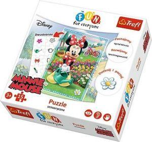 Trefl - Oboustranné smyslové puzzle Minnie Mouse  15 dílků - 24008