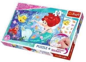 TREFL Puzzle se samolepkami 75114 Disney princezny - Ariel 54 dílků