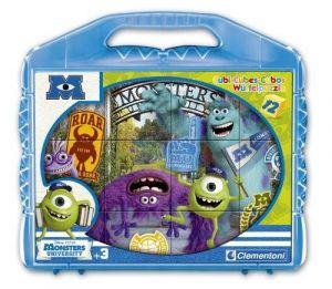 CLEMENTONI Dětské obrázkové kostky  ( kubus )  Univerzita pro příšerky 12 kostek v kufříku 41170
