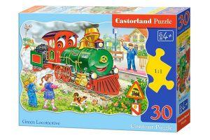 puzzle Castorland  30 dílků  - Zelená lokomotíva - 03433
