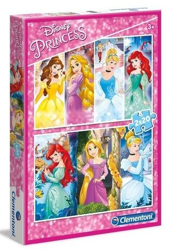 Puzzle Clementoni 2 x 20 dílků - Princezny 07031