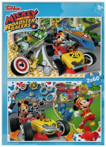 Puzzle Clementoni 2 x 60  dílků  - Mickey Mouse - závodníci    07130