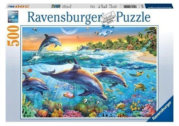 puzzle Ravensburger 500 dílků - Delfíni 142201