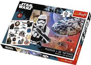 Puzzle Trefl 50 dílků + 20 tetovaček - Star Wars   90557