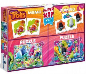 Super Kit  - hry  Clementoni 4v1 ( 2x  puzzle , domino , pexeso ) Trolové 08214