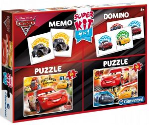 Super Kit  - hry  Clementoni 4v1 ( 2x  puzzle , domino , pexeso ) Cars 3  08215